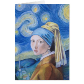The girl with the pearl earring on a starry night. card