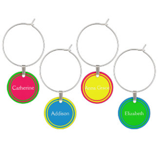 The Girls in Summer Brights Personalized Wine Charms