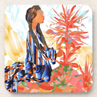 The giving tree a Native American Girl Praying Coaster