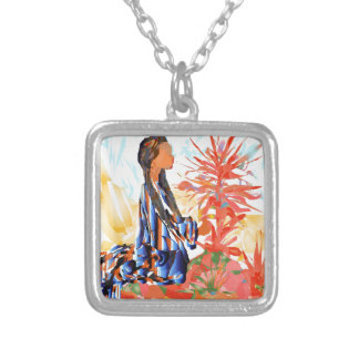 The giving tree a Native American Girl Praying Silver Plated Necklace