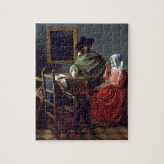 The Glass of Wine by Johannes Vermeer Jigsaw Puzzle