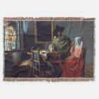 The Glass of Wine by Johannes Vermeer Throw Blanket