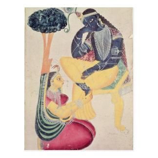 The God Krishna with his mortal love, Radha Postcard