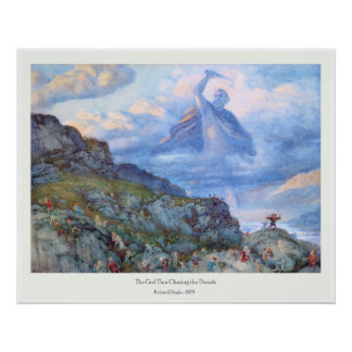 The God Thor Chasing the Dwarfs - Richard Doyle Poster