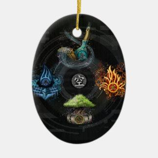 The Godai five elements kanji art illustration Ceramic Oval Decoration