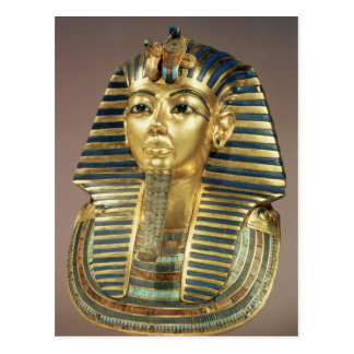 The gold funerary mask, from tomb of postcard