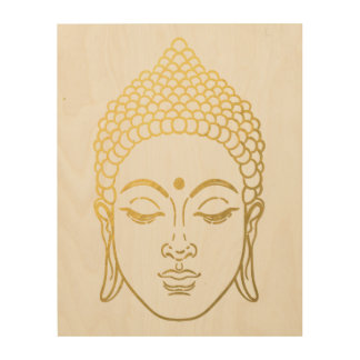 The Golden Buddha of Mindfulness Wooden Wall Art