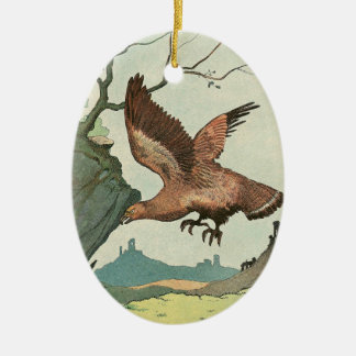 The Golden Eagle Story Book Illustration Double-Sided Oval Ceramic Christmas Ornament