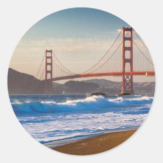 The Golden Gate Bridge From Baker Beach Round Sticker