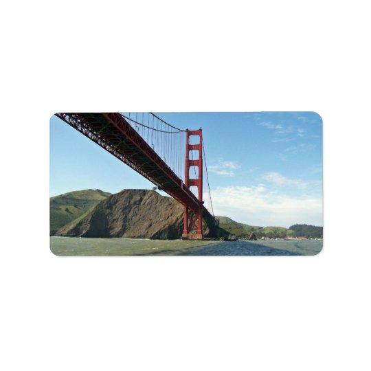 The Golden Gate bridge Label
