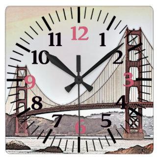 The Golden Gate Bridge - San Francisco, CA (pink) Wall Clock