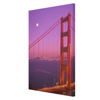 The Golden Gate Bridge shortly after sunset, Stretched Canvas Print