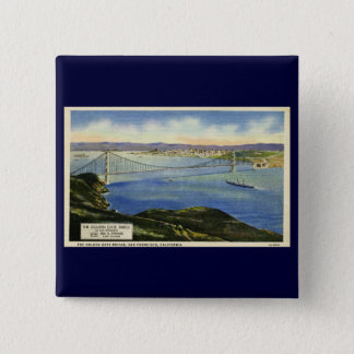 The Golden Gate Bridge Vintage Postcard 15 Cm Square Badge