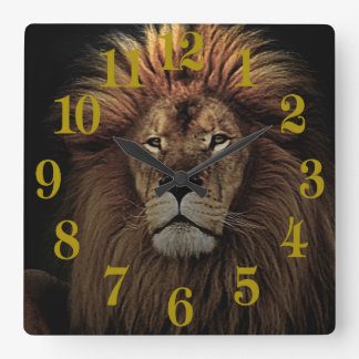 The Golden Proud  Lion Africa Square Wall Clock