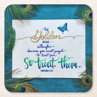 The Golden Rule! Square Paper Coaster
