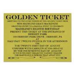 Golden ticket invitations announcements zazzle the golden ticket birthday invitation filmwisefo Images