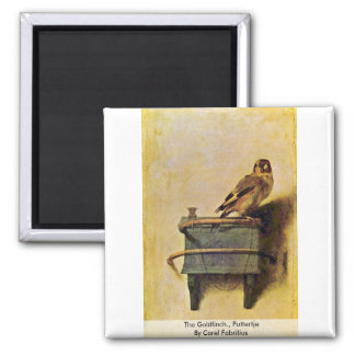 The Goldfinch., Puttertje  By Carel Fabritius Square Magnet