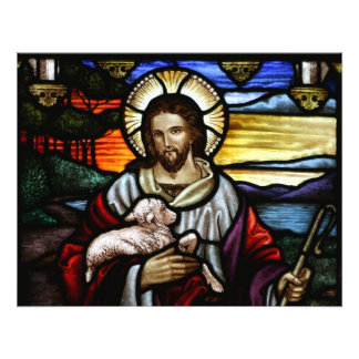 The Good Shepherd; Jesus on stained glass Photograph