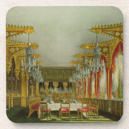 The Gothic Dining Room at Carlton House from Pyne' Drink Coaster