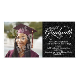 The Graduate, Elegant Black Graduation Photo Card