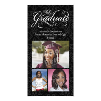 The Graduate, Elegant Black Graduation Photo Card Template