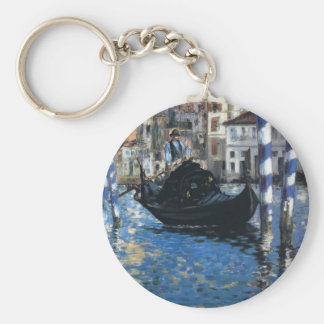 The grand canal of Venice by Edouard Manet Basic Round Button Key Ring