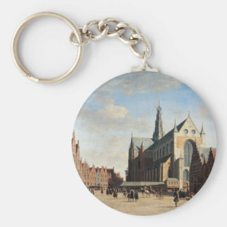 The Grand Market in Haarlem Basic Round Button Key Ring