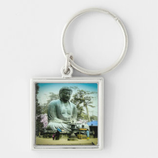 The Great Daibutsu at Kamakura Vintage Old Japan Silver-Colored Square Key Ring
