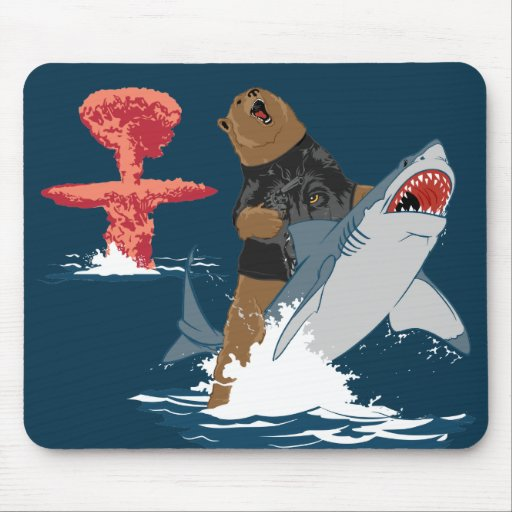 The Great Escape - bear shark cavalry Mousepads