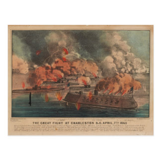 The Great Fight At Charleston 1863 Civil War Postcard