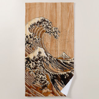 The Great Hokusai Wave Bamboo Wood Inlay Style Beach Towel