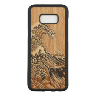 The Great Hokusai Wave Bamboo Wood Inlay Style Carved Samsung Galaxy S8+ Case