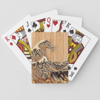 The Great Hokusai Wave Bamboo Wood Style Accent Playing Cards