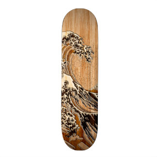 The Great Hokusai Wave Bamboo Wood Style Accent Skate Deck