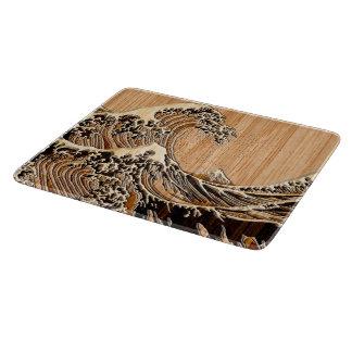 The Great Hokusai Wave Bamboo Wood Style decor Cutting Board