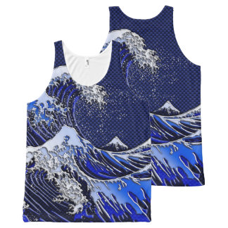 The Great Hokusai Wave chrome carbon fiber styles All-Over Print Tank Top