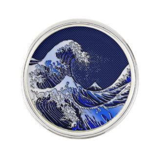 The Great Hokusai Wave chrome carbon fiber styles Lapel Pin