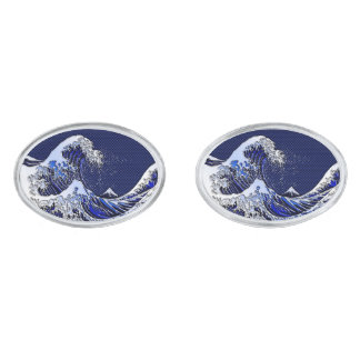 The Great Hokusai Wave chrome carbon fiber styles Silver Finish Cuff Links