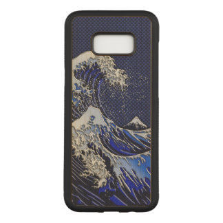 The Great Hokusai Wave Chrome Carbon Style Carved Samsung Galaxy S8+ Case