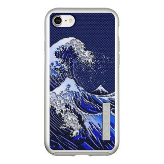 The Great Hokusai Wave Chrome Carbon Style Incipio DualPro Shine iPhone 8/7 Case