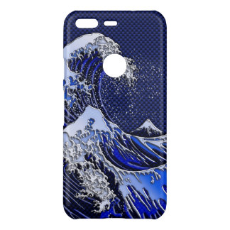 The Great Hokusai Wave Chrome Carbon Style on a Uncommon Google Pixel Case