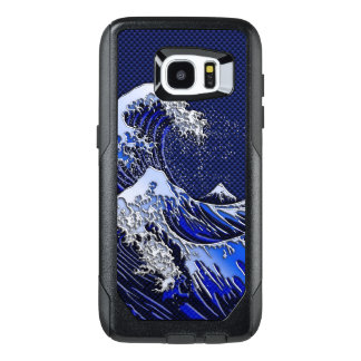 The Great Hokusai Wave Chrome Carbon Style OtterBox Samsung Galaxy S7 Edge Case
