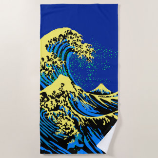 The Great Hokusai Wave in Blue Yellow Pop Style Beach Towel