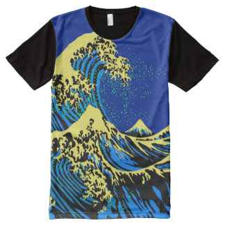 The Great Hokusai Wave in Pop Art Style All-Over Print T-Shirt