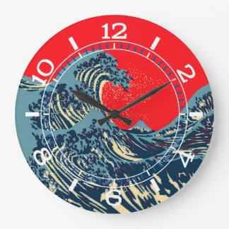 The Great Hokusai Wave in Pop Art Style Dial on a Large Clock