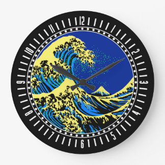 The Great Hokusai Wave in Pop Art Style Dial on a Wallclock