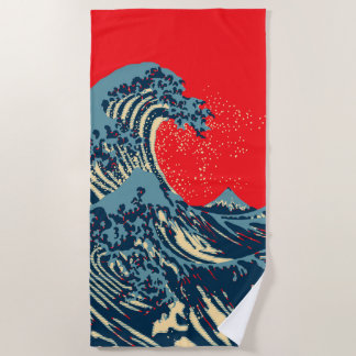 The Great Hokusai Wave in Vibrant Pop Style Beach Towel