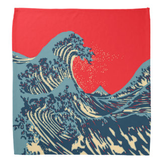 The Great Hokusai Wave in Vibrant Style Bandana
