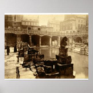 The Great Roman Bath, Bath (b/w photo) Poster