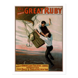 """The Great Ruby"" Vintage Theatre Poster Postcard"